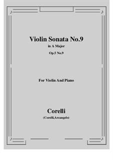 Sonate Nr.9: Bearbeitung für Violine und Klavier by Arcangelo Corelli