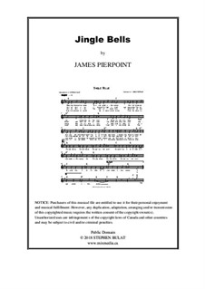 Jingle Bells: Lead sheet (melody, lyrics & chords) in key of G by James Lord Pierpont