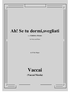 Julia und Romeo: Ah! Se tu dormi, svegliati (D flat Major) by Nicola Vaccai