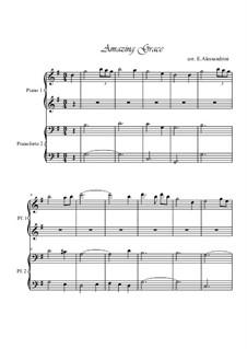 Amazing Grace, für Klavier: For four hands by folklore