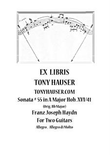 Sonate für Klavier Nr.55 in B-Dur, Hob.XVI/41: Für zwei Gitarren by Joseph Haydn