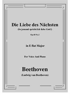 No.2 Die Liebe des Nächsten (So jemand spricht:Ich liebe Gott!): E flat Major by Ludwig van Beethoven