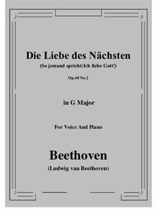 No.2 Die Liebe des Nächsten (So jemand spricht:Ich liebe Gott!): G Major by Ludwig van Beethoven