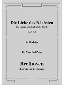 No.2 Die Liebe des Nächsten (So jemand spricht:Ich liebe Gott!): D Major by Ludwig van Beethoven