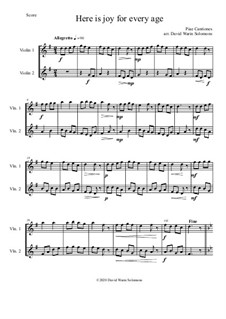 Variations on Here is joy for every age (Ecce Novum Gaudium - from Piae Cantiones): For 2 violins by folklore