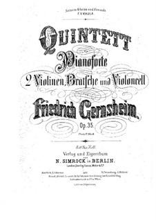 Klavierquintett Nr.1 in d-Moll, Op.35: Vollpartitur, Stimmen by Friedrich Gernsheim