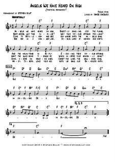 Angels We Have Heard on High: Lead sheet (melody, lyrics & chords) in key of F by folklore