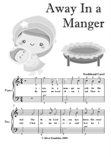 Away in a Manger: For easiest beginner piano with colored notes by folklore