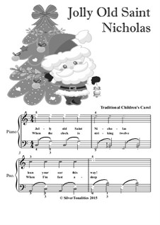 Jolly Old St. Nicholas: For easy piano with colored notes by folklore