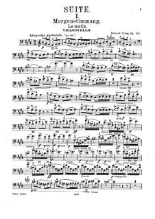 Suite Nr.1, Op.46: Bearbeitung für Cello und Klavier – Solo Stimme by Edvard Grieg