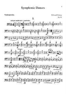 Vier sinfonische Tänze, Op.64: Cellosstimme by Edvard Grieg