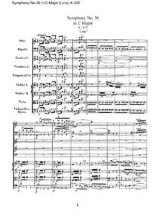 Sinfonie Nr.36 in C-Dur, K.425: Vollpartitur by Wolfgang Amadeus Mozart