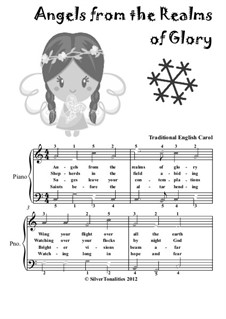 Angels from the Realms of Glory: For easiest piano with colored notes by folklore