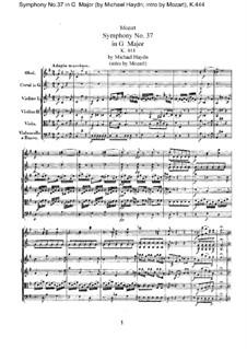 Sinfonie Nr.37 in G-Dur, K.444: Vollpartitur by Wolfgang Amadeus Mozart