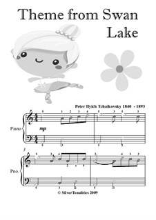 Nr.14 Scène: Arrangement for easiest piano with colored notation by Pjotr Tschaikowski