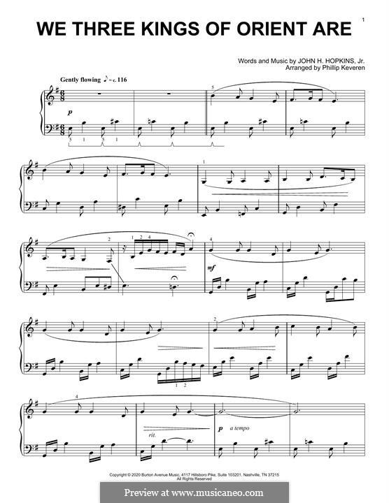 We Three Kings of Orient are, for Piano: Für einen Interpreten by John H. Hopkins Jr.