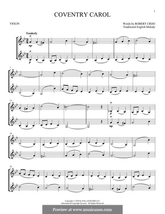 Coventry Carol: Für zwei Violinen by folklore