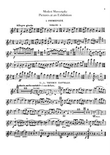 Vollständiger Zyklus: Für Orchester – Violinstimme I by Modest Mussorgski