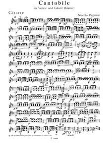 Cantabile für Violine und Gitarre (oder Klavier), MS 109 Op.17: Stimmen by Niccolò Paganini
