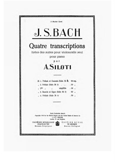 Suite für Cello Nr.3 in C-Dur, BWV 1009: Prélude, for piano by Johann Sebastian Bach