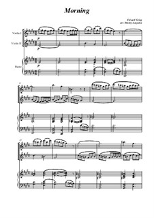 Suite Nr.1. Morgenstimmung, Op.46 No.1: For two violins and piano by Edvard Grieg
