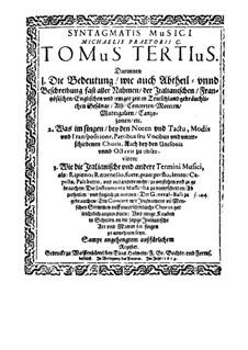 Syntagma musicum: Volume III 'Termini musici' by Michael Praetorius