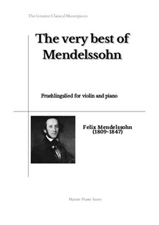 Sechs Lieder, Op.19a: No.1 Fruehlingslied, for violin and piano by Felix Mendelssohn-Bartholdy