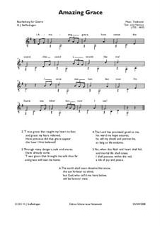 Erstaunliche Gnade, für Ein Instrument: For easy guitar by folklore