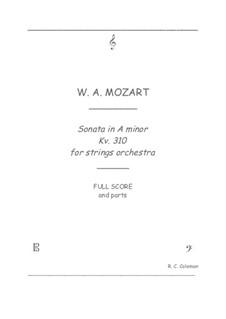 Sonate für Klavier Nr.8 in a-Moll, K.310: Strings orchestra transcription by Wolfgang Amadeus Mozart