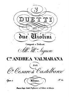 Drei Duos für zwei Violinen, Op.4: Drei Duos für zwei Violinen by Cesare Castelbarco-Visconti