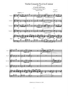 Concerto for Violin and Strings No.4 in E Minor, RV 550: Version for 4 violins and piano by Antonio Vivaldi