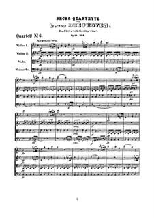 Quartett Nr.6 in B-Dur: Vollpartitur by Ludwig van Beethoven