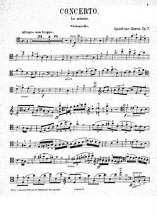 Konzert für Cello und Orchester Nr.1 in a-Moll, Op.7: Partitur für Cello und Klavier – Cellostimme by Daniel Van Goens