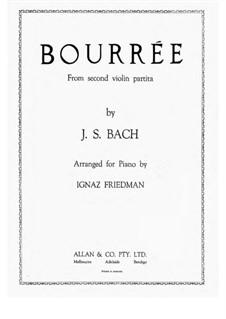 Partita für Violine Nr.2 in d-Moll, BWV 1004: Bourrée, for piano by Johann Sebastian Bach