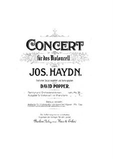 Konzert für Cello und Orchester Nr.5 in C-Dur, Hob.VIIb/5: Teil II. Version für Cello (oder Violine) und Klavier by Joseph Haydn