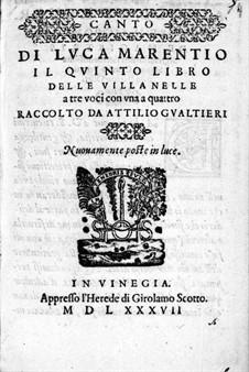 Villanellen: Heft V – Hohe Stimme by Luca Marenzio