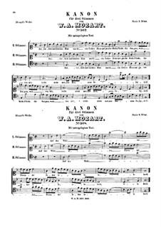 Kanon für drei Stimmen, K.507, K.508: Kanon für drei Stimmen by Wolfgang Amadeus Mozart