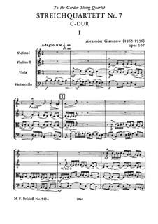 Streichquartett Nr.7 in C-Dur 'Hommage au passé', Op.107: Streichquartett Nr.7 in C-Dur 'Hommage au passé' by Alexander Glazunov