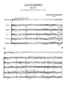 Konzert für Saxophon und Streicher in Es-Dur, Op.109: Partitur by Alexander Glazunov