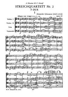 Streichquartett Nr.2 in F-Dur, Op.10: Streichquartett Nr.2 in F-Dur by Alexander Glazunov