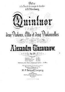 Streichquintett in A-Dur, Op.39: Für Klavier, vierhändig – Stimmen by Alexander Glazunov