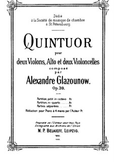 Streichquintett in A-Dur, Op.39: Vollpartitur by Alexander Glazunov