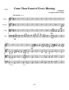 Come Thou Fount of Every Blessing: Für Streichquartett by folklore