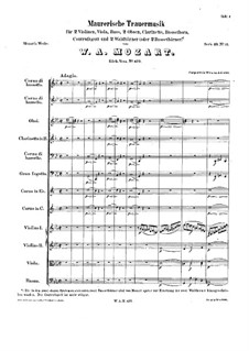 Maurerische Trauermusik, K.477: Vollpartitur by Wolfgang Amadeus Mozart