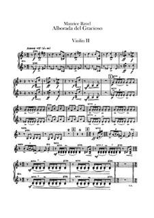 Spiegel für Orchester, M.43a: Teil IV Morgenlied des Narren – Violinstimme II by Maurice Ravel