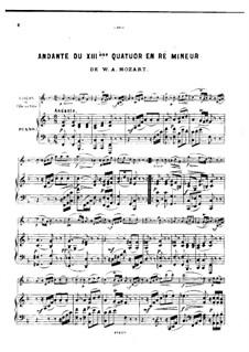 Streichquartett Nr.15 in d-Moll, K.421/K.417b: Andante, für Violine (oder Flöte, oder Cello) und Klavier by Wolfgang Amadeus Mozart