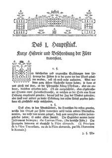 Versuch einer Anweisung die Flöte Traversiere: Kapitel I-III by Johann Joachim Quantz