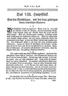 Versuch einer Anweisung die Flöte Traversiere: Kapitel VIII-XII by Johann Joachim Quantz