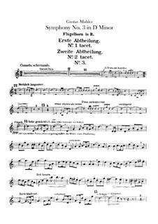 Sinfonie No.3 in d-Moll: Flügelhornstimme by Gustav Mahler