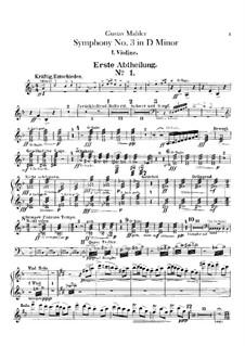 Sinfonie No.3 in d-Moll: Violinstimme I by Gustav Mahler
